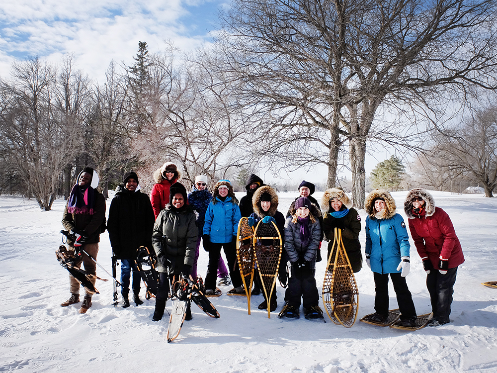 Group photo of snowshoers