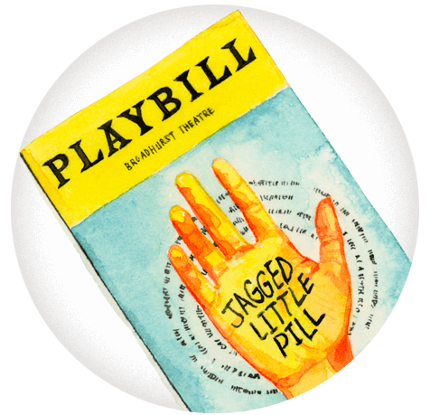 An illustration of a playbill from Jagged Little Pill.