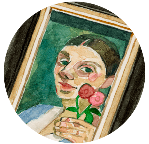 An illustration of a painting of a woman in a frame.